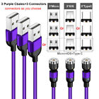 3 Pack 540° Magnetic Charging Charger Cable Cord Lot For iPhone Type C Micro USB