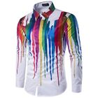 New Business Dress Shirts T Shirt Formal Mens Long Sleeve Blouse Slim Fit Floral