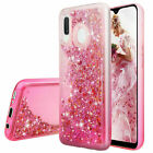 For Samsung Galaxy A20/A30 Case Liquid Bling Glitter TPU Cover+Tempered Glass