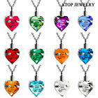 Crystal Heart Cremation Pendant Ashes Keepsake Memorial Urn Necklace 12 Colours
