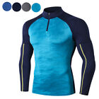 Mens Compression Baselayer Top Long Sleeved Shirts 1/4 Zip Mock Neck Cool Dry