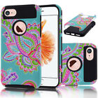 Dual Layer Flower Rugged Hybrid ShockProof Protective Case Cover For Cell Phones