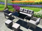 NEW RATTAN GARDEN WICKER OUTDOOR CONSERVATORY SOFA FURNITURE SET CUBE DINING SET