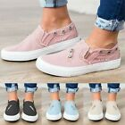 Women Flat Canvas Slip On Shoes Comfy Pumps Loafers Casual Trainers Sneakers
