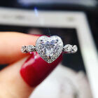 Romantic 925 Silver Heart Ring Women White Sapphire Wedding Jewelry Gift Sz 6-10