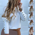 Women Long Sleeve Metal Buttons Shirt Ladies Long Sleeve Casual Tops Blouse NEW