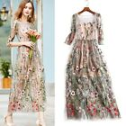 Lady Flower Embroidery Floral Mesh Evening Party Maxi Cocktail Long Dress HOT
