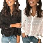 Women Long Sleeve Translucent Button Up Shirt Ladies Tunic Blouse Office Top Tee