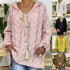 Women's V-neck Sweater Solid Color Twist Knitted Sweater Hoodies Loose Coat New