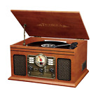 6IN1 Retro B/T Record Player Home Stereo, 3-speed Turntable CD Cassette FM Radio