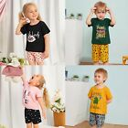 Kid Baby Girl Boy Letter T-Shirt Shorts Pajamas Sleepwear Outfits Casual Clothes