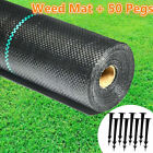 100gsm Heavy Duty Weed Control Fabric Membrane Garden Ground Cover Mat W/50 Pegs