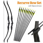 57 in Takedown Recurve Bow Hunting w/ 12Pcs Arrow Set Archery Right Left Hand US