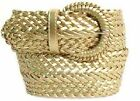 """Wide GOLD  Braided Belt for Women Leather 3"""" New Cinch fashion Dress Casual"""