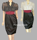 Black White PolkeDot Office Pencil Dress Sz 8 10 12 14 16 18 20 NEW