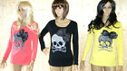 SKULL GOTH PUNK DIAMONTE 3D BOW LONG SLEEVED LADIES TOP