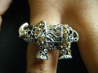 VINTAGE ANTIQUE STYLE ANIMAL INDIAN ELEPHANT RING JEWELLED DIAMONTE ONE SIZE UK