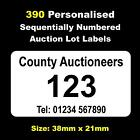 390 Personalised Auction Lot Labels Numbered 1 - 390