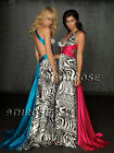 A REAL ZEBRA STUNNER! Beaded Deep V-Neck Evening/Prom/Formal Dress with Train