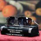 NEW MENS 80'S VINTAGE AVIATOR SUNGLASSES RETRO MOSAIC FRAME SHADES SQUARE BLACK