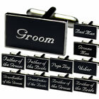 Black Enamel Silver Wedding Cufflinks Gift box + Free Tie Tac 11 Roles Available