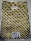 SMALL ECONOMY FASHION YELLOW SPOTTED CARRIER BAGS 50+ PACK 20cmx15cm PARTY GIFT