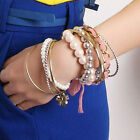 10Pc New Multilayer Pearl Bead Heart/Animals/Flower Charm Antique Style Bracelet