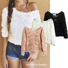 tp48 Celebrity Fashion Trendy 3D Rose Flower Applique Off Shoulder Blouse