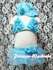 Baby Girl Sky Blue Rosettes Bikini Swimwear Swimsuit Tutu 3PC set For Size 2-7Y