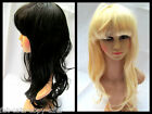 LADIES LONG WAVY CURLY HAIR SYNTHETIC WIG BLACK BLONDE FANCY DRESS UK SELLER