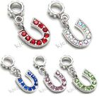 Horse Shoe Silver Crystal Dangle European Charm Bead For Bracelet Necklace