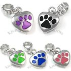 Wholesale Lot 10pcs Love My Dog Paw Silver Dangle European Bracelet Charm Beads