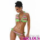 NEW SEXY SIZE 8-10-12 WOMENS BIKINI SET SWIMWEAR BEACHWEAR GREEN WHITE S M L