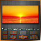 ' Burnt Orange Sunset Over The Ocean ' Modern Landscape Wall Art Deco Canvas