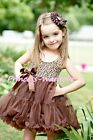 Brown Leopard Print with Brown ONE-PIECE Petti Dress Pettiskirt For Girl 2-8Year