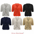 NEW LADIES KNITTED SHORT SLEEVE WOMENS CROCHET SHRUG CARDIGAN TOP SIZE 14-32