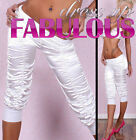Rare Soft WOMEN'S 3/4 CAPRI PANTS SIZE 6-8-10-12 LADIES TIGHTS PARTY WEAR WHITE