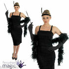 LADIES BLACK ROARING 20s CHARLESTON FLAPPER FANCY DRESS COSTUME GLOVES HEADBAND