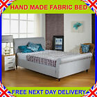 3ft6 Large Single UPHOLSTERED SLEIGH BEDSTEAD + MATTRESS GREY/BROWN/BEIGE/CREAM