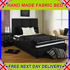 3ft6 Large Single UPHOLSTERED BEDSTEAD + MATTRESS BLACK/GREY/BROWN/BEIGE/CREAM