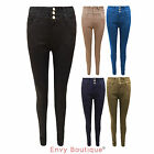NEW LADIES HIGH WAISTED SKINNY JEANS WOMENS SLIM FIT TROUSERS SIZES 8 10 12 14