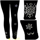 Regular & Plus Size Full-Length Leggings Embellished With Silver Snowflakes