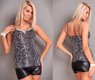 Sexy Women Fashion Grey/Black Snake Look Clubbing Party Stretch Top UK 8/10 S/M