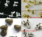 100pcs Silver/Golden/Bronze/DarkSilvr Plug Back Stoppers Earring Findings 6x5mm