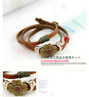 1pcs new fashion Retro bronze real leather flower bracelet