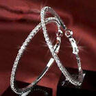 1Pair Fashion Clear Crystal Rhineston Round Hoop Charm Earrings Fit All Occasion