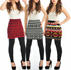 Womens Knitted Skirt Fair Isle Nordic Print Winter Fitted Ladies Brand New