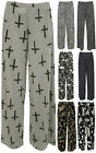 New Plus Size Womens Palazzo Wide Leg Flared Trousers Ladies Print Pants 12 - 26
