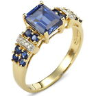 Size 7,8,9,10 Jewelry Handsome Blue Sapphire 10KT Yellow Gold Filled Ring Gift