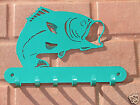 Bass Metal KEY RACK Home Decor Coat Leash Hanging Hook Fish Large Mouth Small